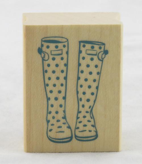 Polka Dot Rain Boot Galoshes Wood Mounted Rubber Stamp Inkadinkado