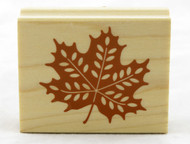 Maple Leaf Wood Mounted Rubber Stamp Inkadinkado