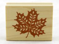 Maple Leaf Wood Mounted Rubber Stamp Inkadinkado