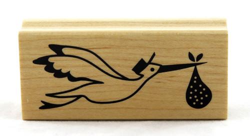 Stork Wood Mounted Rubber Stamp Inkadinkado