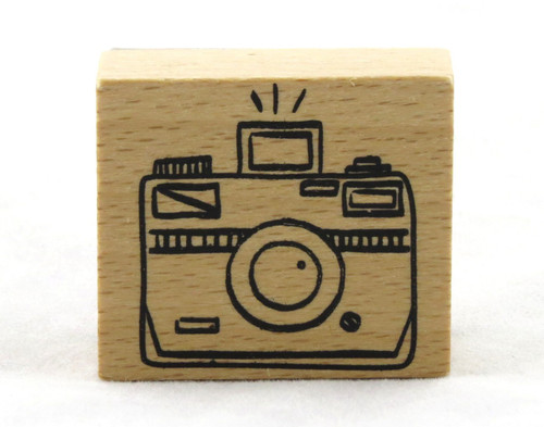 Flash Camera Wood Mounted Rubber Stamp American Crafts