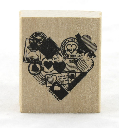 Postmark Heart Wood Mounted Rubber Stamp Martha Stewart