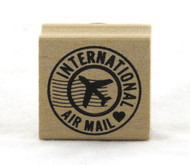 International Air Mail Circle Wood Mounted Rubber Stamp Martha Stewart