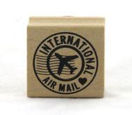 International Air Mail Circle Wood Mounted Rubber Stamp Martha Stewart
