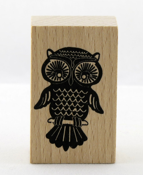 Owl on Perch Wood Mounted Rubber Stamp Momenta