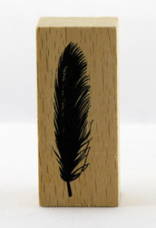 Feather Wood Mounted Rubber Stamp Momenta