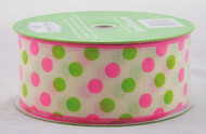 Pink Lime Polka Dot on Ivory Linen Wide Wired Ribbon 50 yards