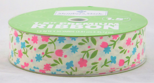 Spring Flowers on White Linen Wired Ribbon 50 yards