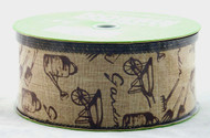 Garden Tools on Natural Burlap Wide Wired Ribbon 50 yards 2.5 inches wide