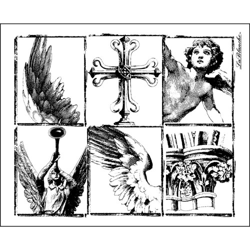 Wing Pieces Silicone Mounted Rubber Stamp LaBlanche