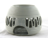 Gray Ceramic Round Oil Warmer Earthbound Trading