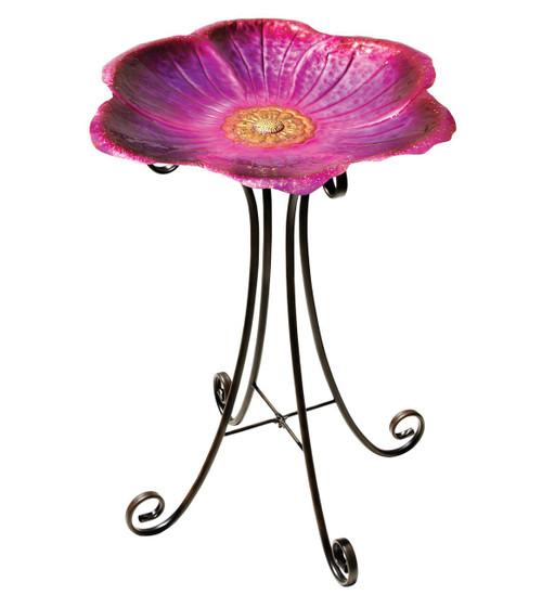 Flower Metal Birdbath with Stand