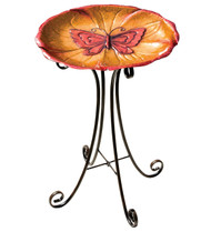 Butterfly Metal Birdbath with Stand