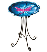 Dragonfly Metal Birdbath with Stand