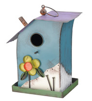 Country Flower House Metal Hanging Bird House