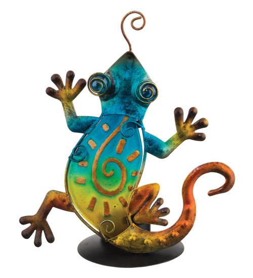 Gecko Glass Metal Tea Light Candle Holder