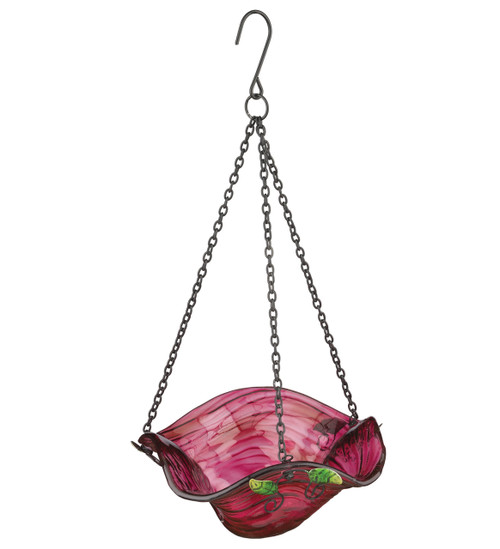 Pink Bellflower Glass Hanging Bird Feeder