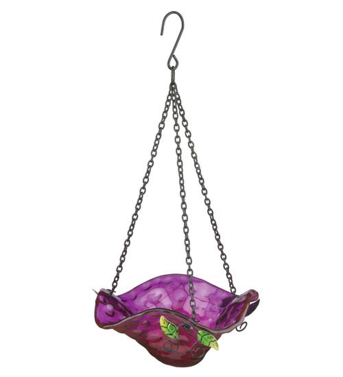 Purple Bellflower Glass Hanging Bird Feeder