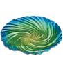 Blue Green Swirl Art Glass Bird Bath Feeder