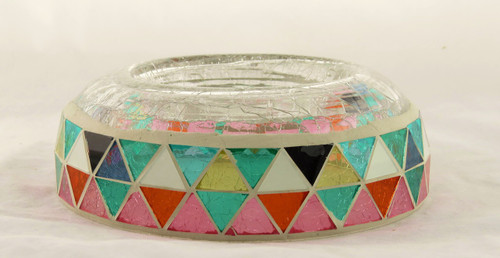 Glowing Montage Mosaic Crackle Glass Raised Candle Tray Yankee Candle