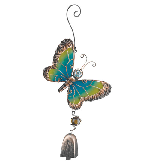 Butterfly Glass Metal Ornament Hanging Bell