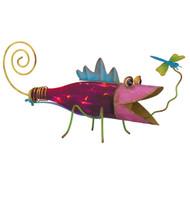 Pink Lizard Gecko Glass Bottle Solar Glowing Garden Art