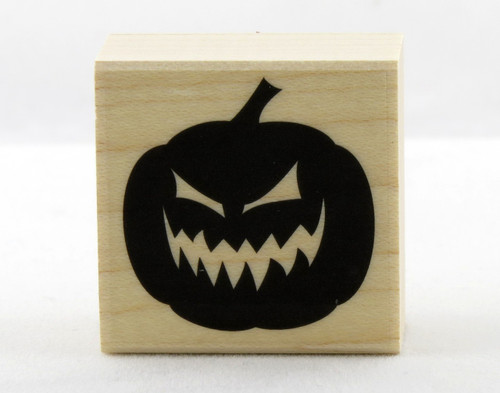 Evil Jack O' Lantern Pumpkin Wood Mounted Rubber Stamp Hero Arts
