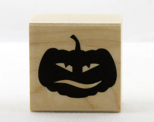 Confused Jack O'Lantern Pumpkin Wood Mounted Rubber Stamp Hero Arts