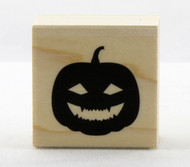 Happy Jack O'Lantern Pumpkin Wood Mounted Rubber Stamp Hero Arts