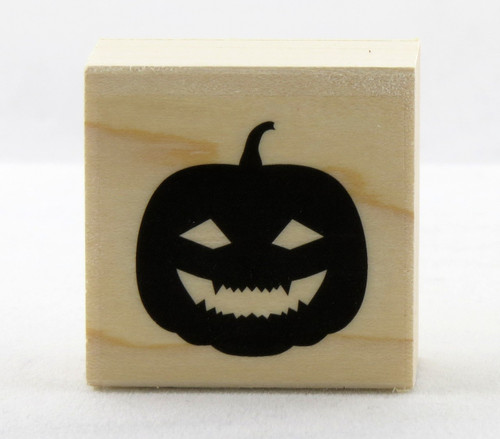 Happy Jack O'Lantern Pumpkin Wood Mounted Rubber Stamp Hero Arts