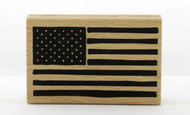 American Flag Wood Mounted Rubber Stamp Pebbles