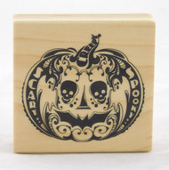 Mindscape Pumpkin Wood Mounted Rubber Stamp Inkadinkado