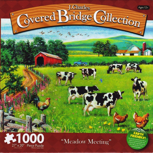 Meadow Meeting 1000 Piece Jigsaw Puzzle J. Charles Covered Bridge Collection