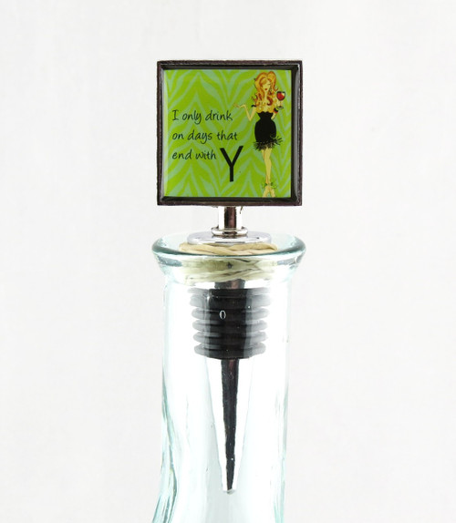 Days with Y Working Girl Glass Metal Bottle Topper