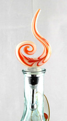 Orange Swirl Art Glass Metal Bottle Topper