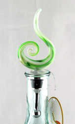 Green Swirl Art Glass Metal Bottle Topper