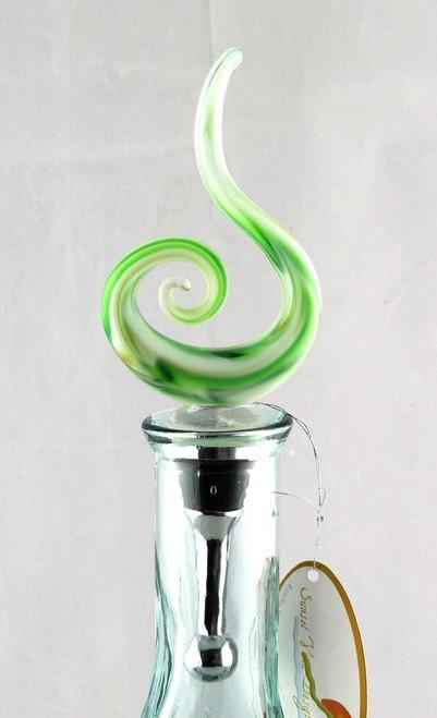 Green Swirl Art Glass Metal Bottle Topper