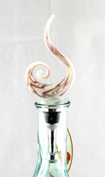 Purple Swirl Art Glass Metal Bottle Topper