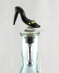 Black High Heel Ladies Shoe Art Glass Metal Bottle Topper