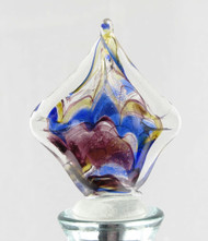 Blue Gold Purple Multi-colored Square Art Glass Metal Bottle Topper