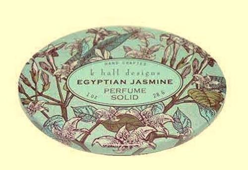 Egyptian Jasmine Solid Perfume K. Hall Design Decorative Tin 1oz