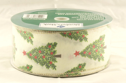 Christmas Trees on Ivory Linen Wide Wired Ribbon 50 yards