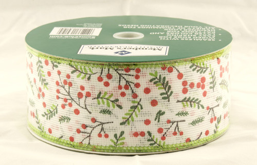 Holly Berry Branches on White Linen Wide Wired Ribbon 50 yards