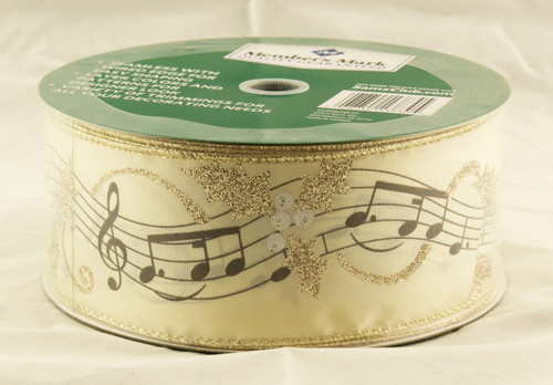 Music Notes & Gold Sparkle Holly on Solid Satin Champagne Wide Wired Ribbon 50 Yards