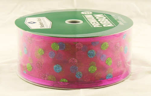 Blue Pink Green Sparkle Polka Dot on Sheer Bright Pink Wide Wired Ribbon 50 Yards