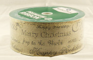 Christmas Greetings on Natural Burlap Wide Wired Ribbon 50 Yards
