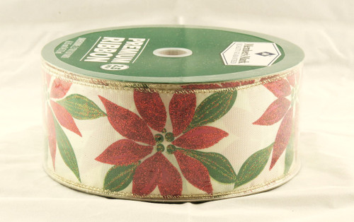Red Sparkle Poinsettia on Ivory Satin Wide Wired Ribbon 50 Yards