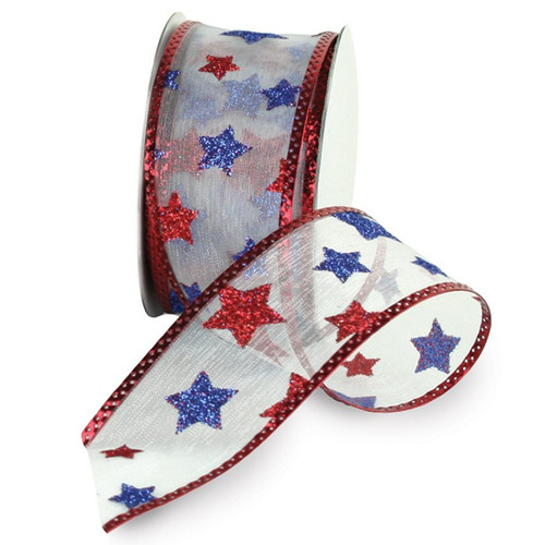 Red White Blue Stars on Sheer White Wired Ribbon 25 Yards