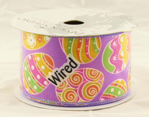 Easter Eggs on Solid Purple Wide Wired Ribbon 25 Yards