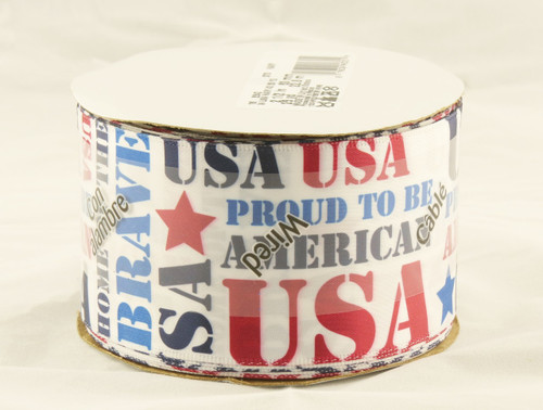 USA Patriot on Solid White Wide Wired Ribbon 25 Yards